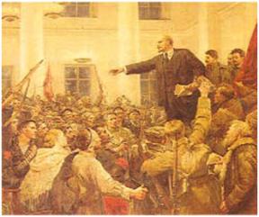 Lenin cobrando en una manifestación los derechos de autor de la Internacional